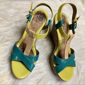Soft Yellow / Green Wedge Sandals Size 10